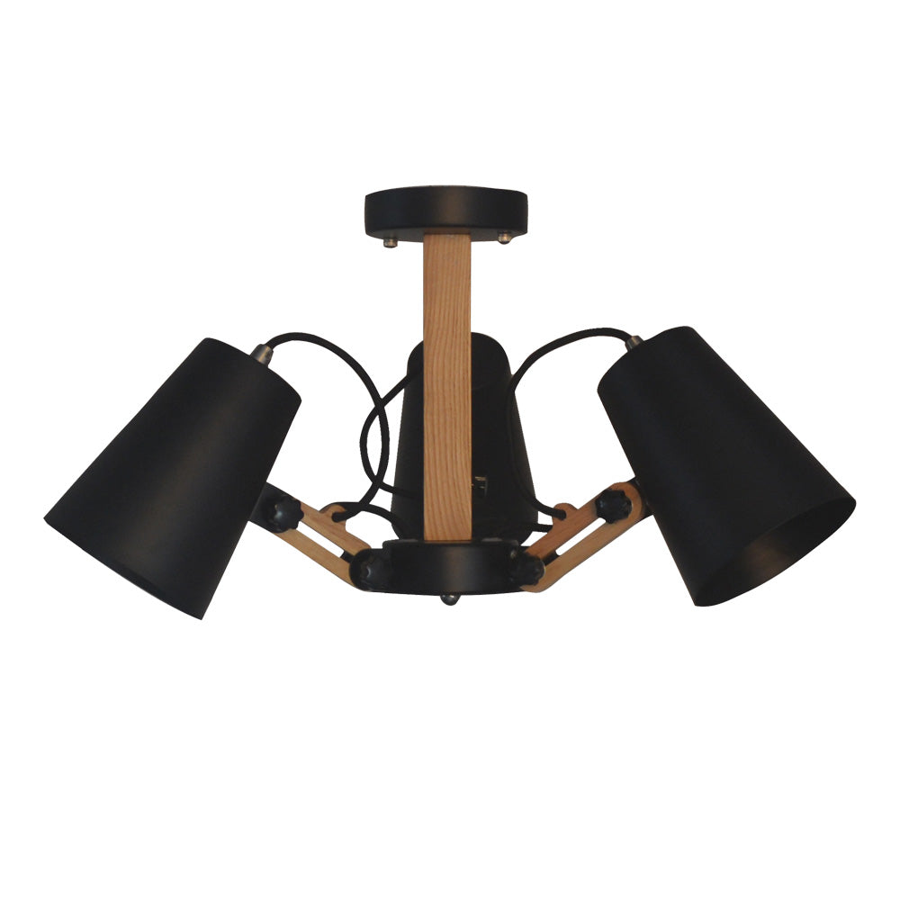 Starthi 3-Light Adjustable Track Light, Rubber Wood Ceiling Spotlight Pendant Lamp with Swing Arms