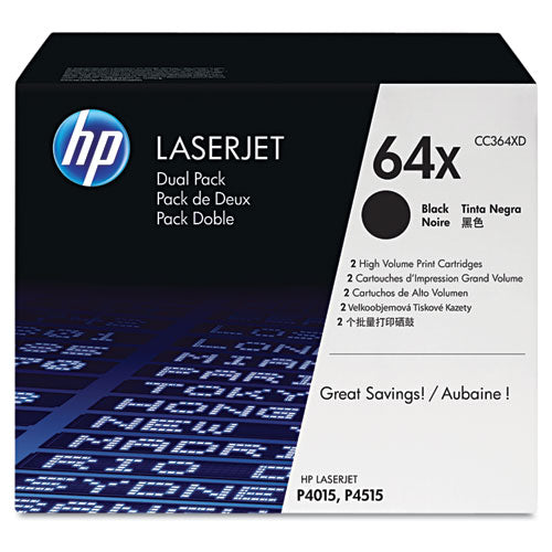 HP 64X, (CC364X-D) 2-pack High Yield Black Original LaserJet Toner Cartridges