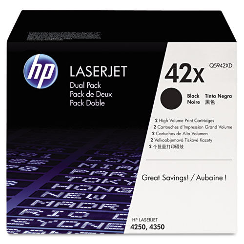 HP 42X, (Q5942X-D) 2-pack High Yield Black Original LaserJet Toner Cartridges