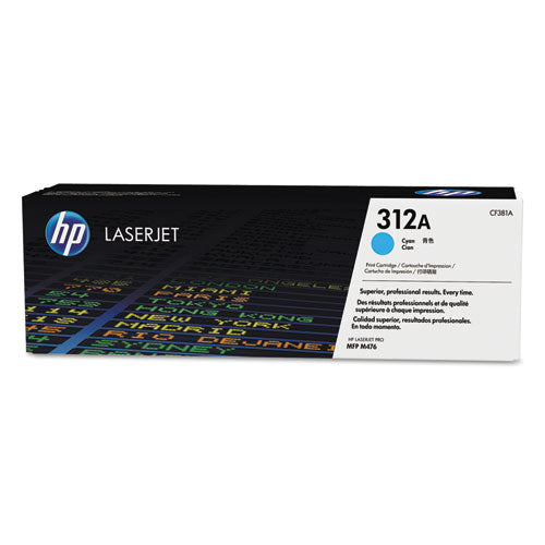 (CF381A) LaserJet Toner Cartridge, HP 312A, Cyan Original