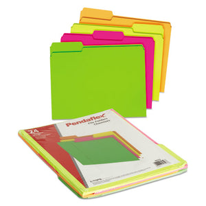 Folders, Glow File, 1/3 Cut Top Tab, Letter, Assorted Colors, 24/Box