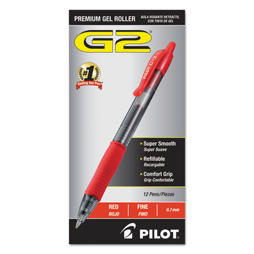 G2 Premium Retractable Gel Ink Pen, Refillable, Red Ink, .7mm, Dozen