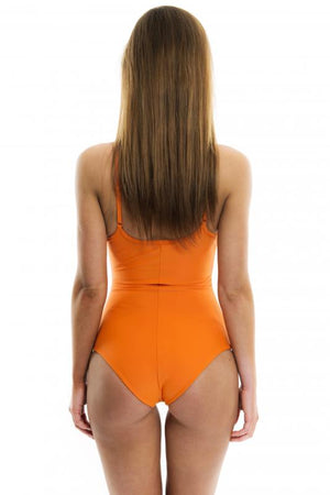 Orange Lace-Up Swimsuit