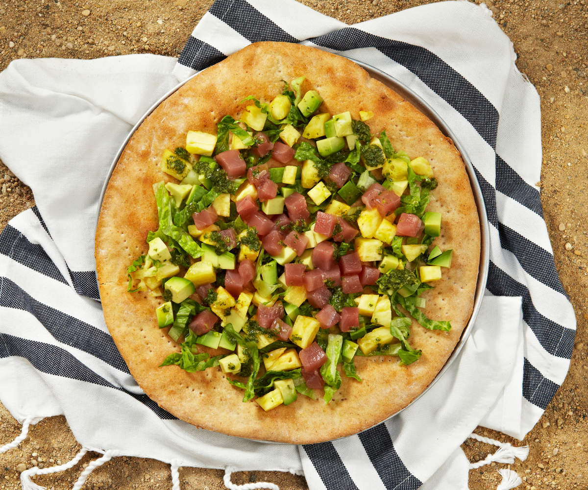 Tuna flatbread with avocado, pineapple and lime cilantro vinaigrette