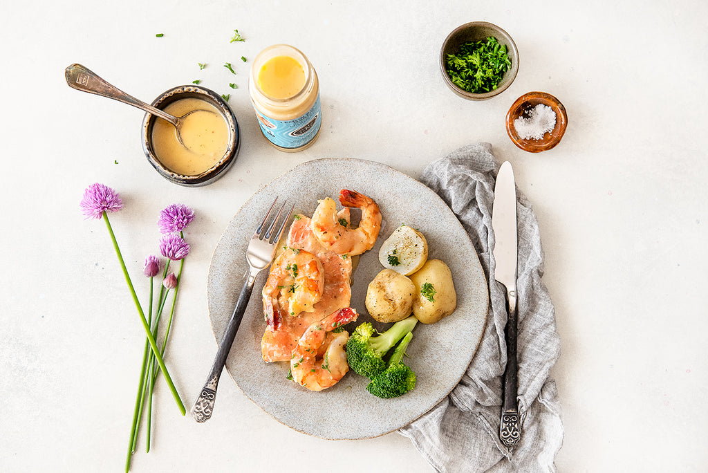 Lemon Honey Herb Salmon & Prawns