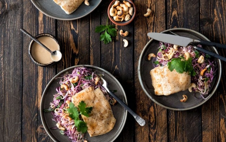 Miso Sesame Halibut with Creamy Slaw