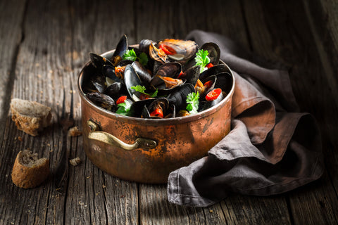 steamed mussels & peppers