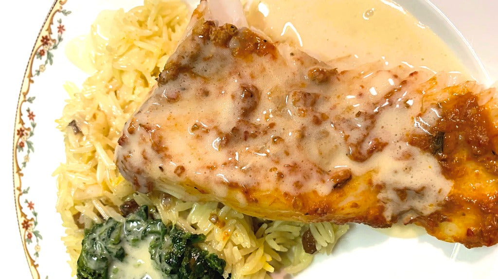 Rose Harissa Baked Halibut with Beurre Blanc