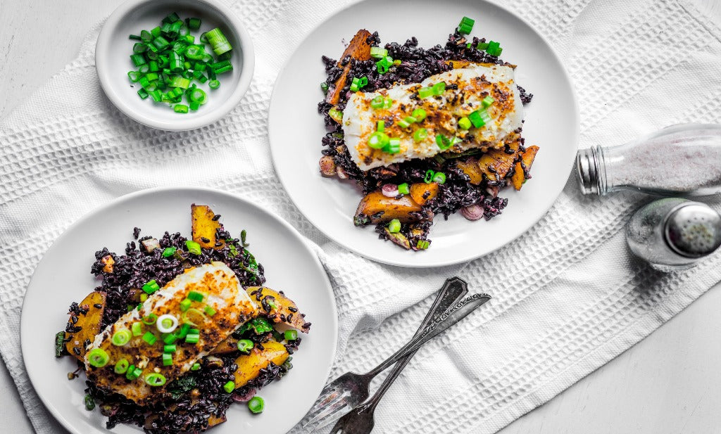 Pickerel wild rice and saskatoons