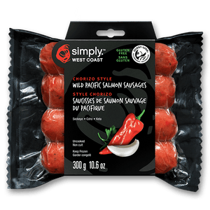 simply west coast chorizo style wild salmon sausage 4 pieces