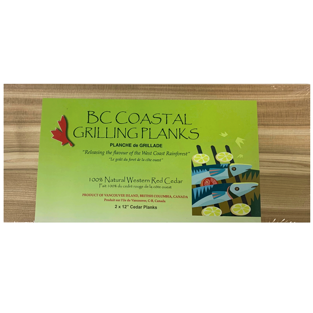 bc coastal grilling planks 2 pack 12 inches each 100 percent natural western red cedar product of Vancouver, Canada