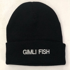 generic toque with Gimli Fish embroidered on the front black knit & white letters adult size one size fits all