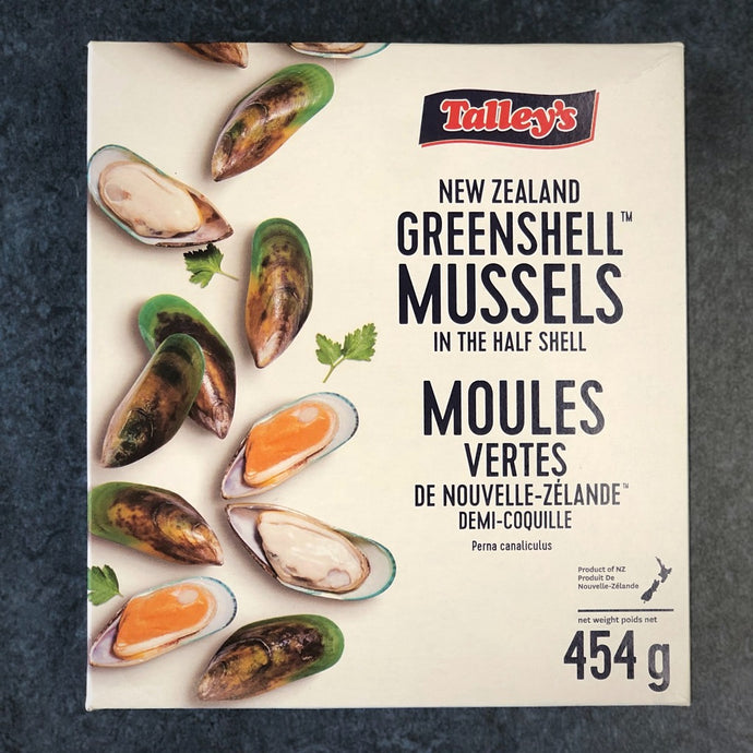 New Zealand Greenshell Mussels in the half shell 454 grams by Talley's frozen