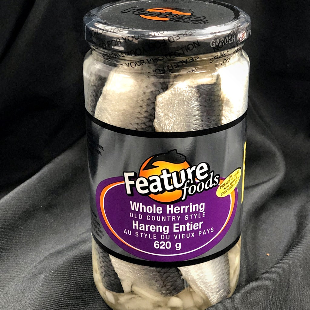 whole pickled herring old country style 620 grams jar