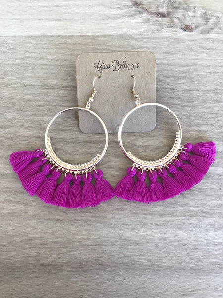 Alessia Earrings - fuchsia/blue/pink/black/white