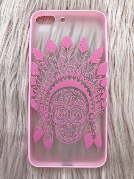 Feather Skull iPhone case black/white/pink