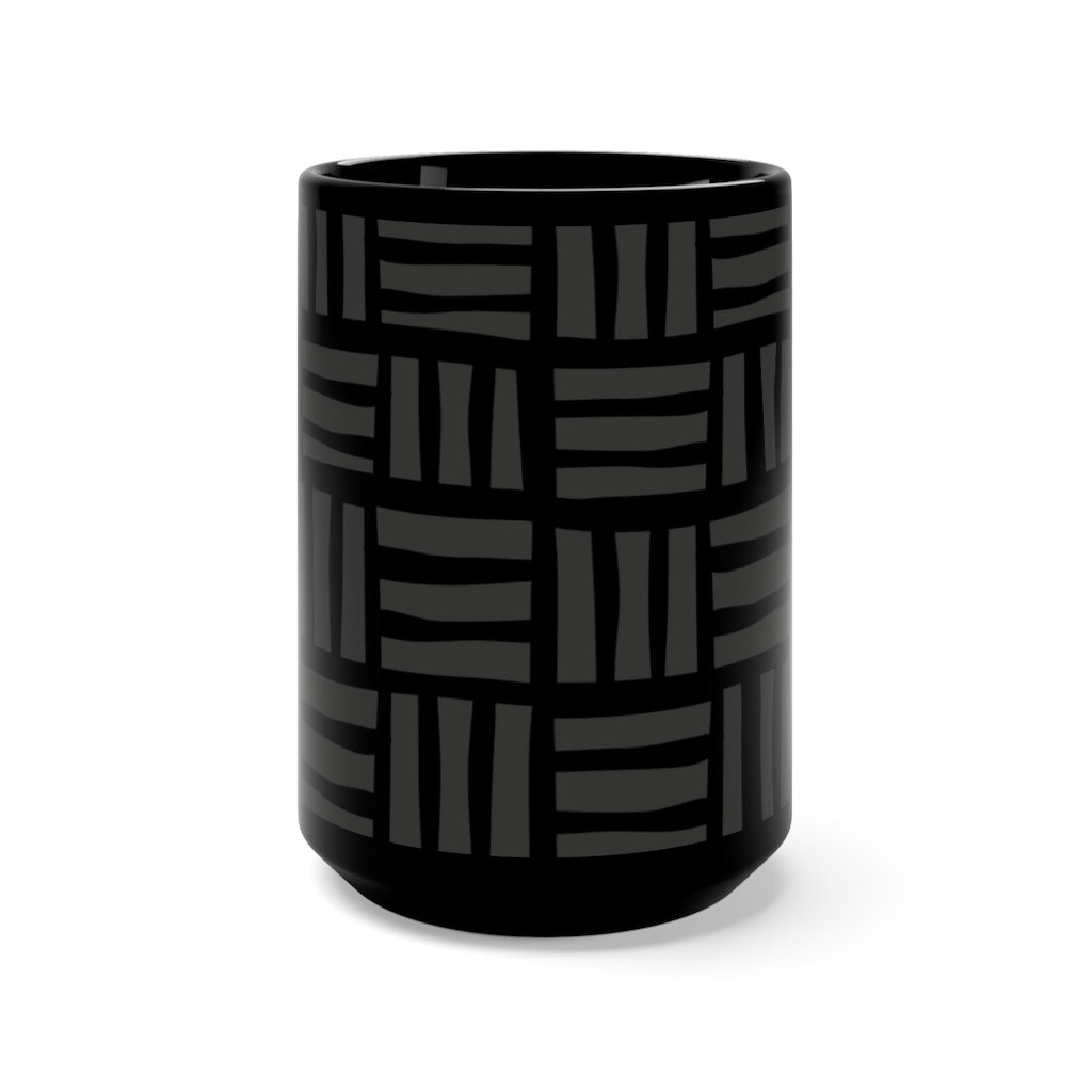 Black on Black Bogolanfini 15oz Ceramic Mug