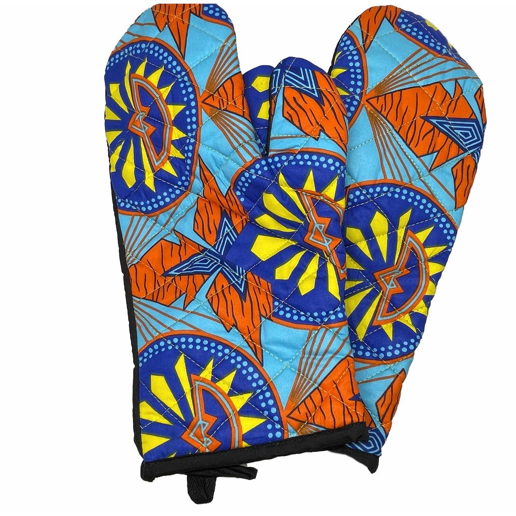 African Print Double Oven-mitt Set - Teal/Orange/Blue/Yellow
