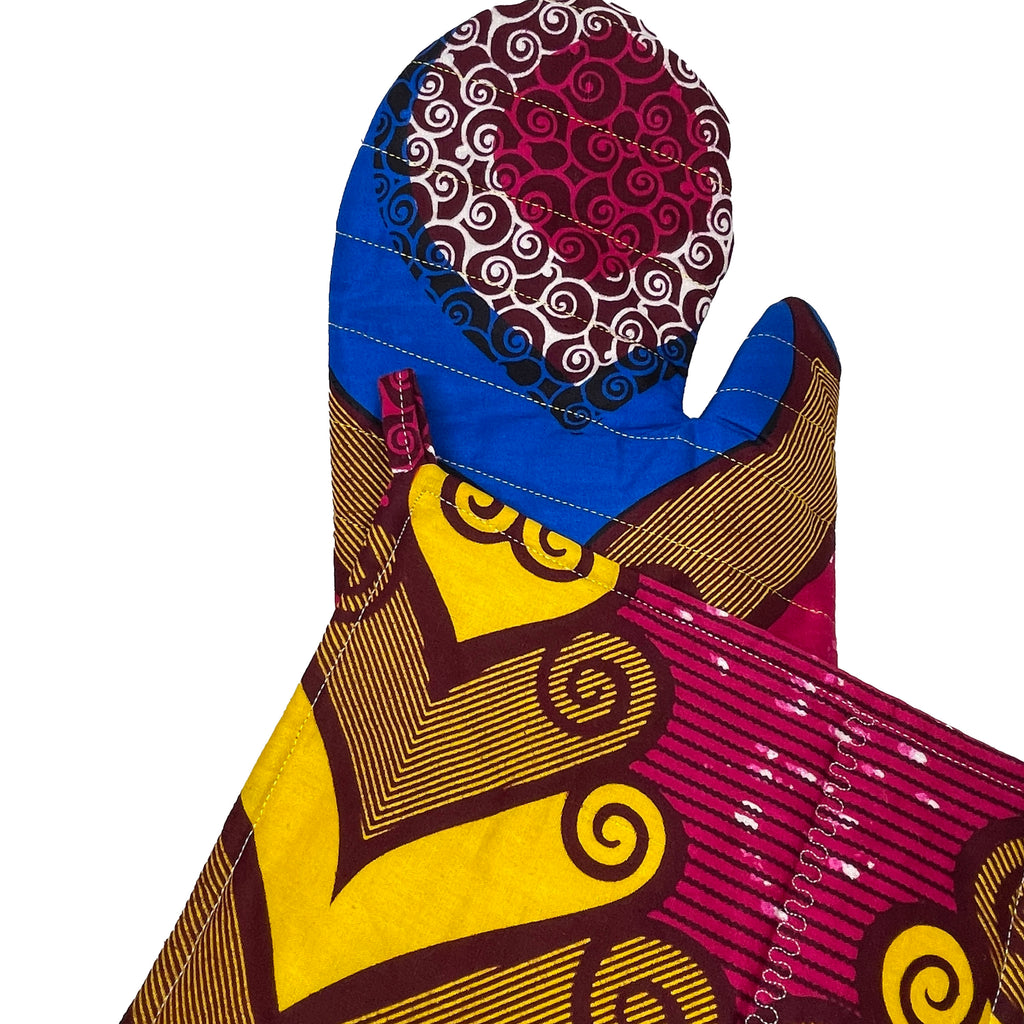 African Print Potholder & Oven-mitt Set - Fuchsia/Burgundy/Blue/Yellow