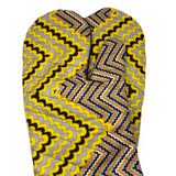 African Print Oven-mitt Set - Yellow/Orange/Silver/Black