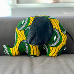 Ngozi Elephant Pillow - Green/Yellow/Black/White