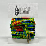 Amahle Wax Print Laces - Green/Red/Yellow/Black