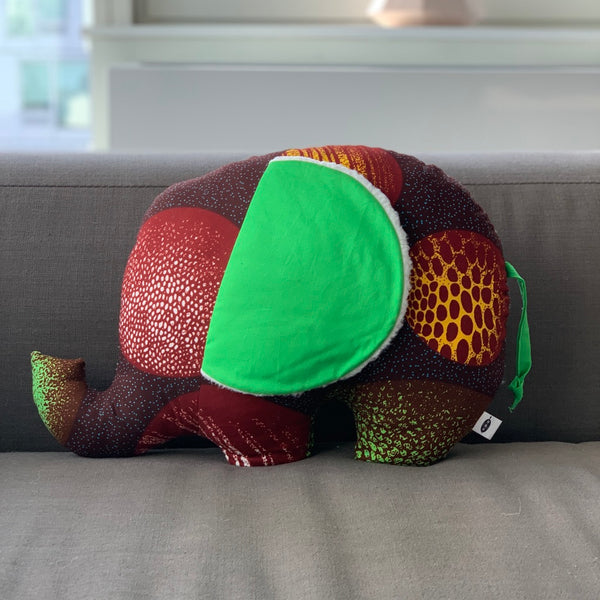 Ngozi Elephant Pillow - Burgundy/Green/Teal