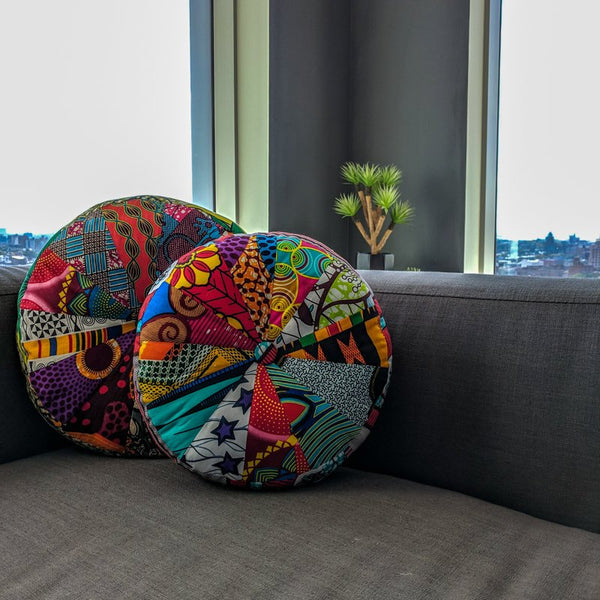 Pinwheel Cushion - Ankara African Wax Print - Decorative Throw Pillow