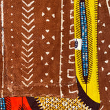 Nambili 'Isabis' Ankara Wax Print & Rust MudCloth Scarf - Rust/Cream/Orange/Brown