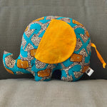 Ngozi Elephant Pillow - Blue, Orange