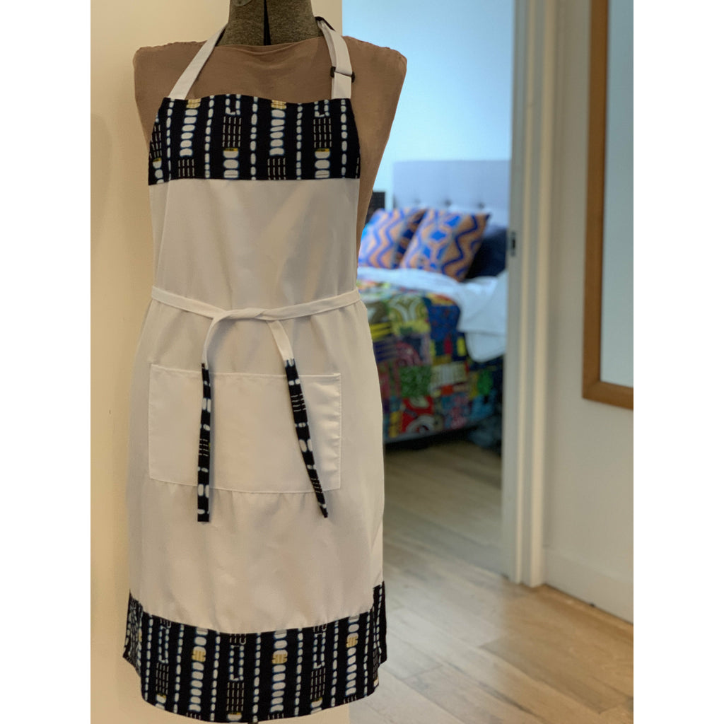 African Wax Print Apron - White/Blue