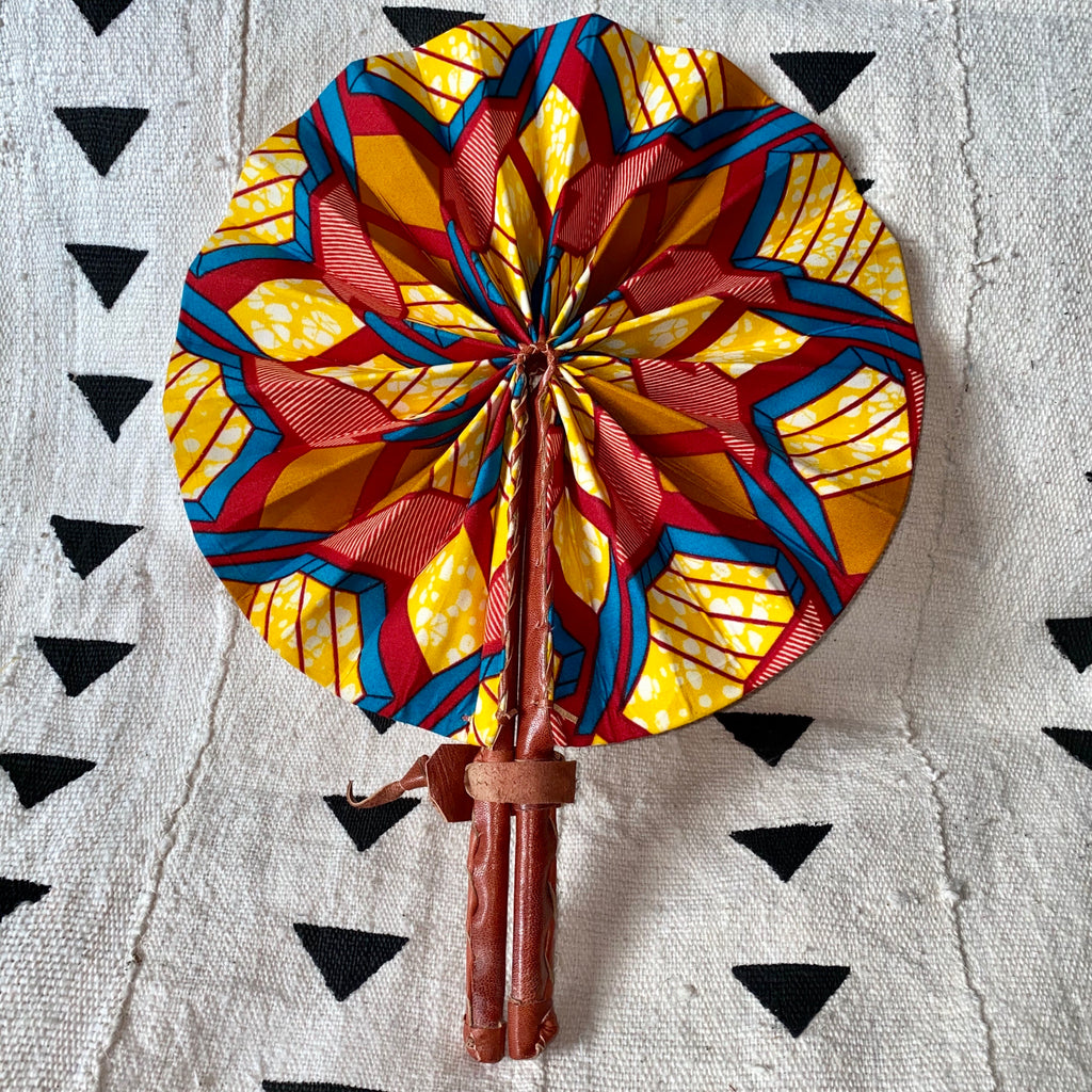 African Print Fan - Red/Yellow/Teal/Orange