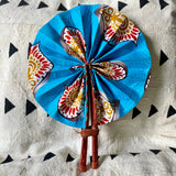 African Print Fan - Teal/Burgundy/Gold