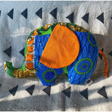 Ngozi Elephant Pillow - Orange/Blue/Green