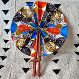 African Print Fan - Bright Blue/Orange/Black/Olive-Gold