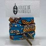 Amahle Wax Print Laces - Orange/Teal/Cream/Brown