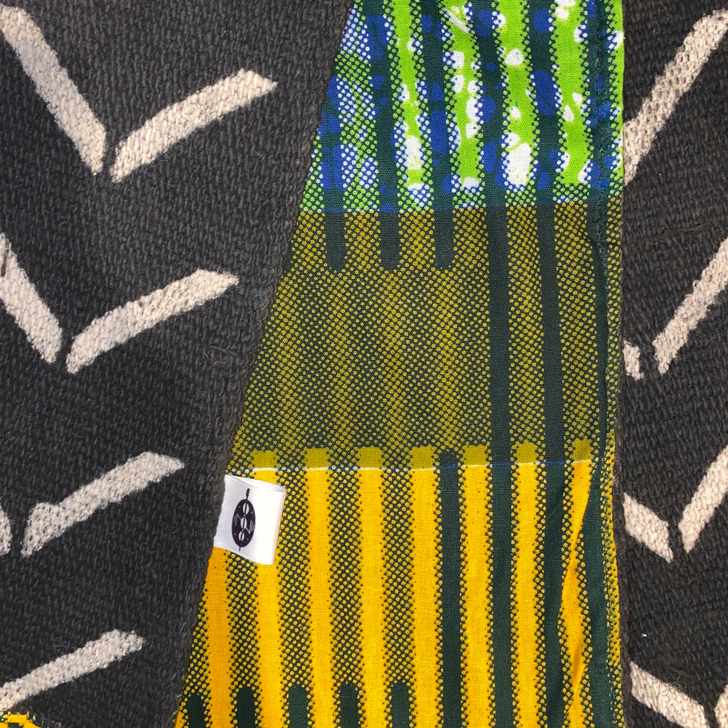 Nambili 'Isabis' Ankara Print & White on Black MudCloth Scarf - Green/Orange/Cream
