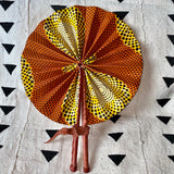 African Print Fan - Yellow/Orange/Brown
