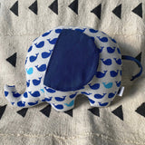 Ngozi Elephant Pillow - Navy/White/Lt Blue
