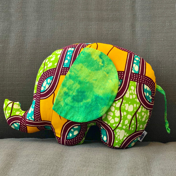 Ngozi Elephant Pillow - Yellow, Green,Teal