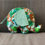 Ngozi Elephant Pillow - Aqua Blue, Cream, Brown