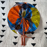 African Print Fan - Bright Blue/Orange/Chartreuse/Brown