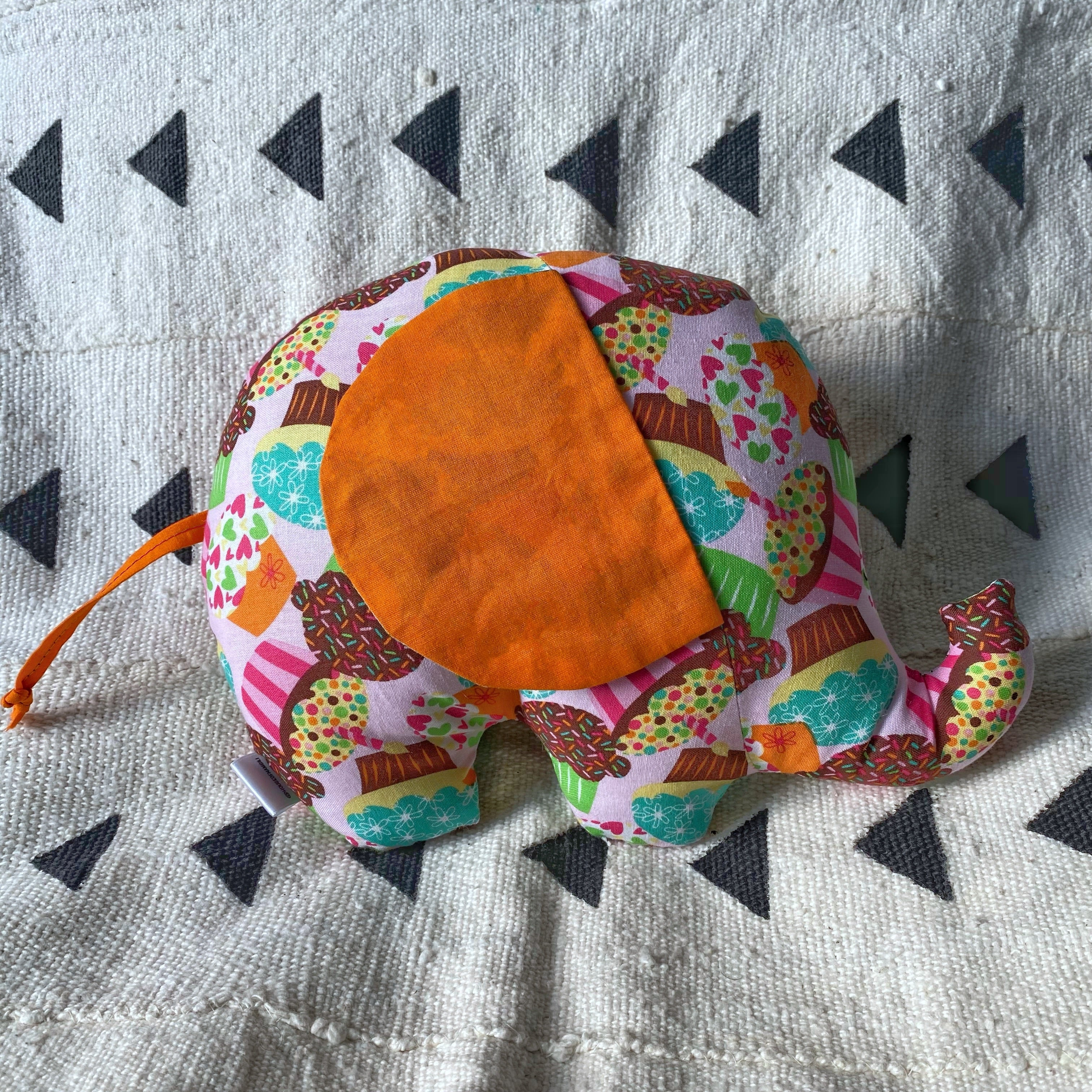Ngozi Elephant Pillow - Orange/Pink/Teal
