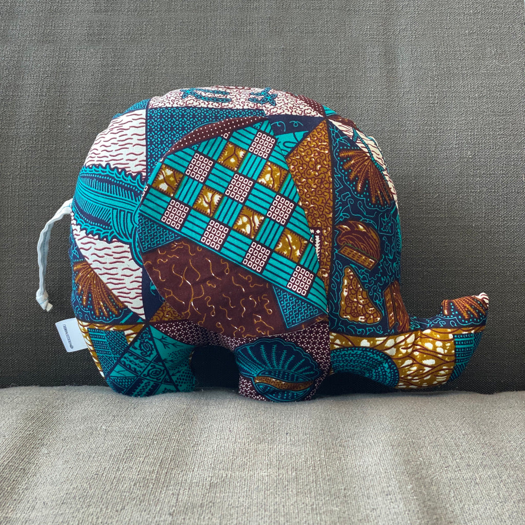 Ngozi Elephant Pillow - Teal, Brown, Gold