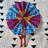 African Print Fan - Yellow/Pink/Blue