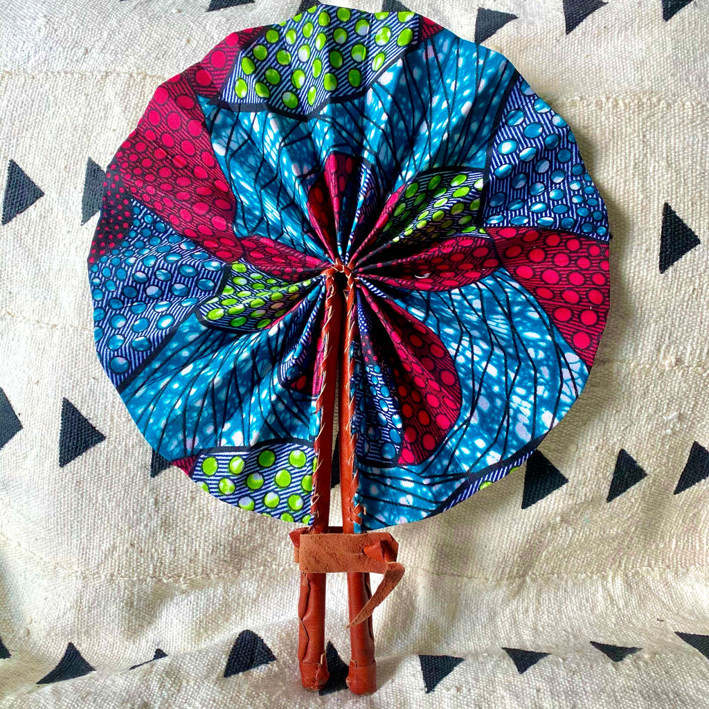African Print Fan - Blue/Pink/Green