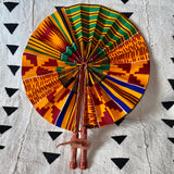 African Print Fan - Yellow/Red/Green/Black/Blue Kenté
