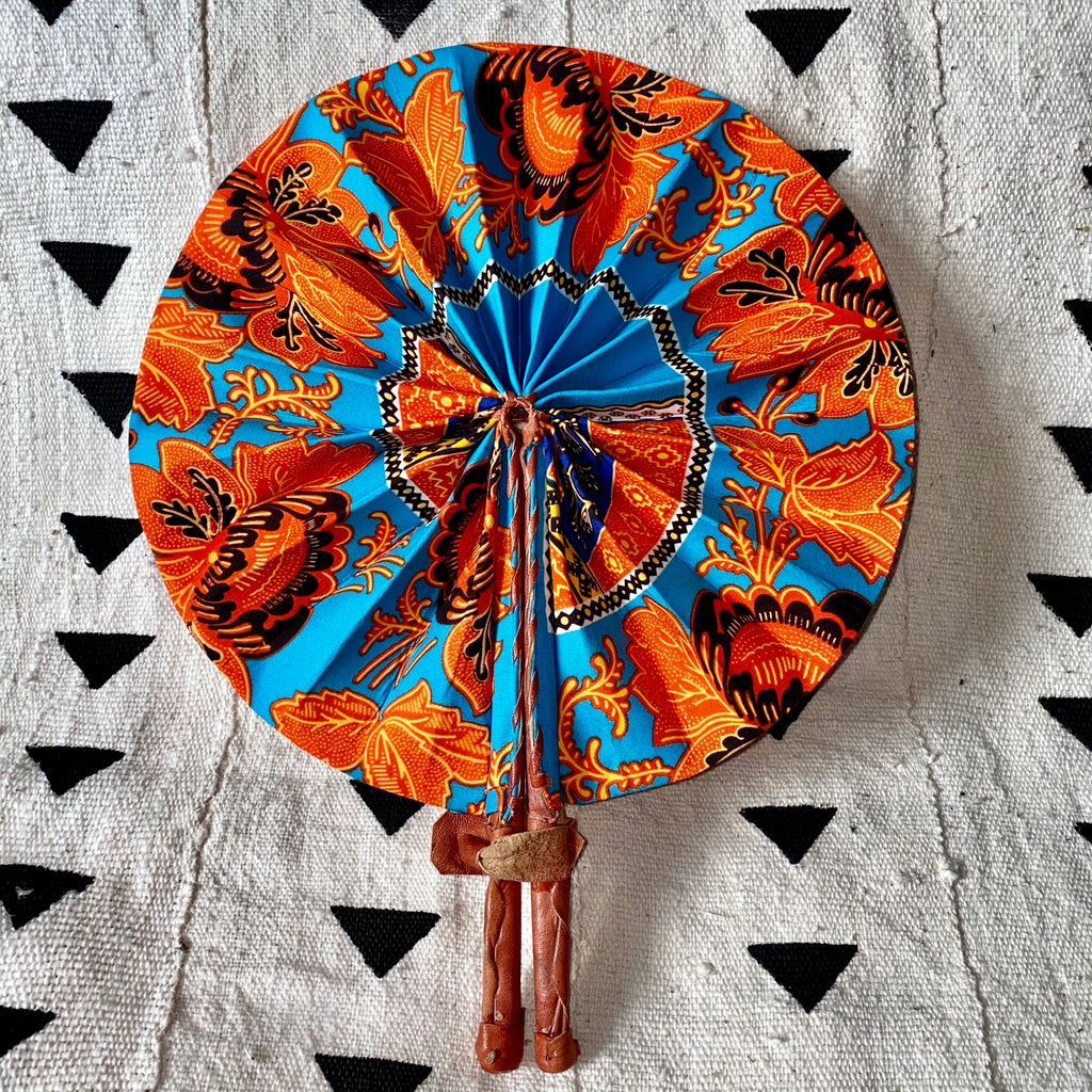 African Print Fan - Orange/Teal/Black