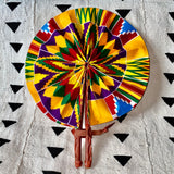 African Print Fan - Purple/Yellow/Green/Red Kenté