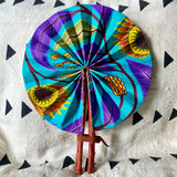 African Print Fan - Purple/Teal/Yellow/Olive